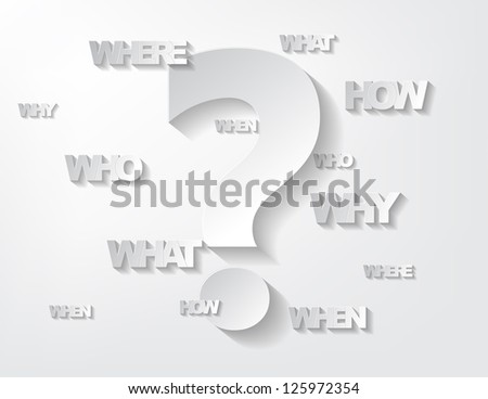 Background with sticker questions and question mark on a white background. - stock photo