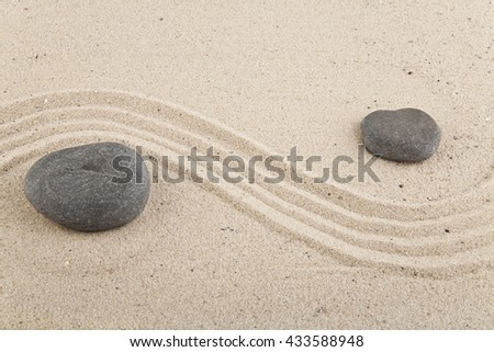 background with stones and sand for meditation and relaxation to find spiritual balance and purity, on sand background