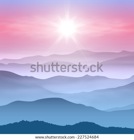 Background with sun and mountains in the fog. - stock photo