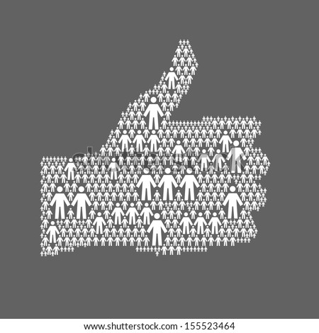Background with the hand of thumbs up symbol, which is composed of people icons. Abstract dark illustration with white silhouettes of person, sign like. Social media concept for web template  - stock photo