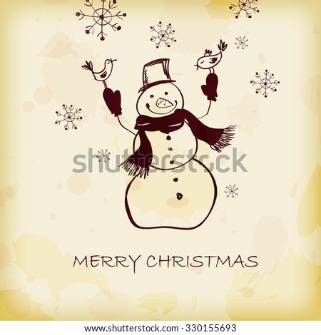 background with the image of funny snowman