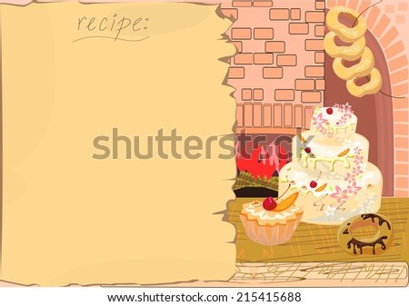 Background with the recipe and baking - stock photo