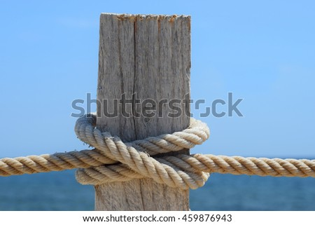 Background with the sea, maritime node of the knot and a piece of wood