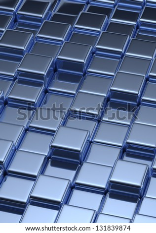 Background with tilled blue cubes - stock photo