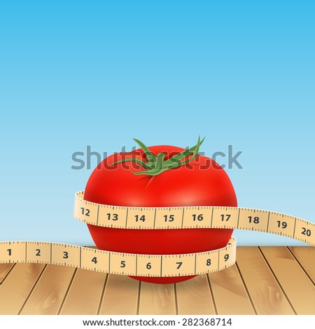 Background with tomato and tape measure - stock photo