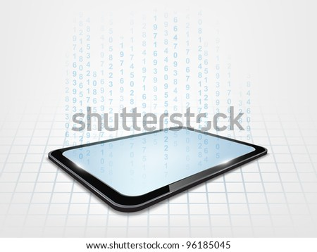 Background with touch tablet model with blue figures hologram. - stock photo