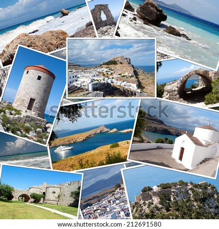background with travel photos of the island of Rhodes in Greece - stock photo