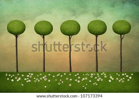Background with trees - stock photo