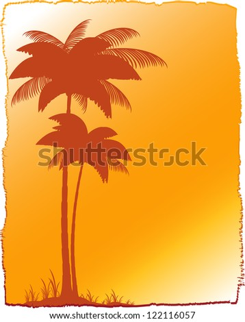 background with tropical landscape - palm and sunset