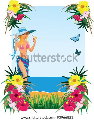 Background with tropical plants, butterflies and girl