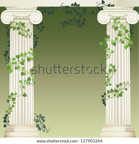 Background with two Ionic columns entwined with ivy. Raster version of vector file - stock photo