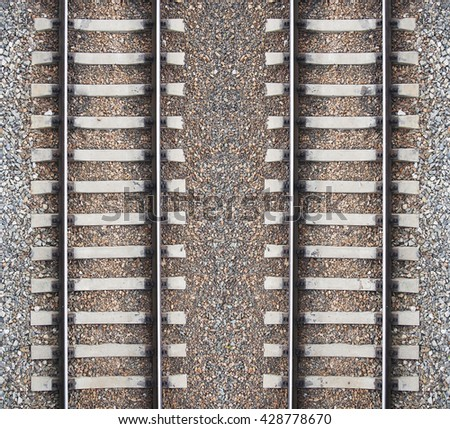 Background with two railroad lines and gravel - stock photo