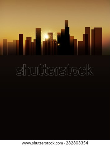background with urban landscape (buildings and sunrise. vertical version)  - stock photo