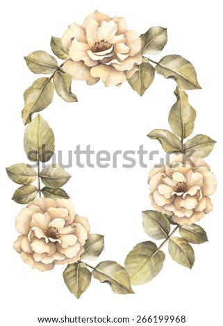 Background with watercolor rose flowers. Perfect for greeting card or invitation - stock photo