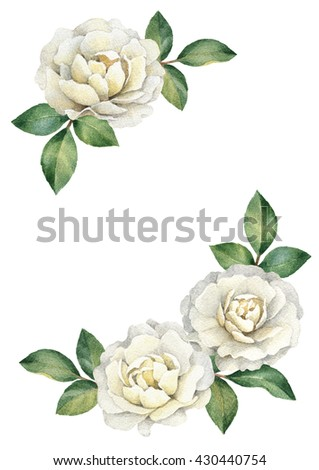 Background with watercolor rose flowers. Perfect for greeting cards or invitations