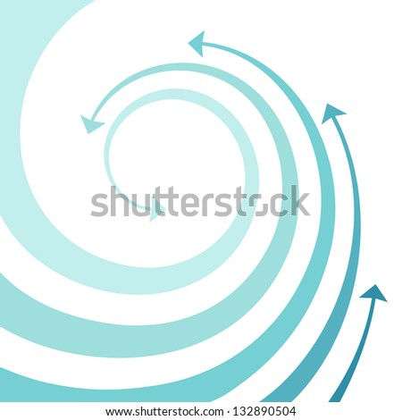 Background with wave of blue twisted arrows. Abstract decorative illustration with concept of movement and water with space for text. Simple design element for print and web - stock photo