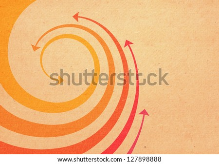 Background with wave of red, orange and yellow twisted arrows. Abstract decorative illustration with concept of movement with text box. Simple design element for print and web on grunge paper texture - stock photo