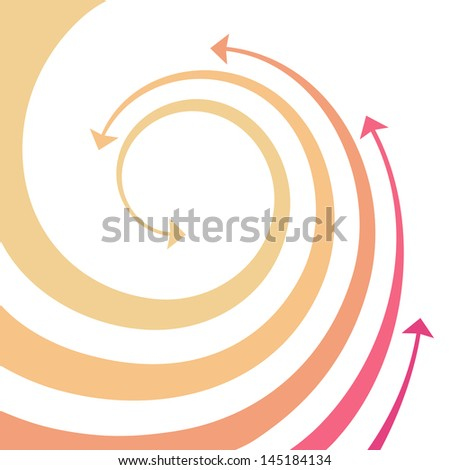Background with wave of red, orange, yellow twisted arrows. Abstract decorative illustration with concept of movement and competition with text box. Simple graphic design element for print and web - stock photo