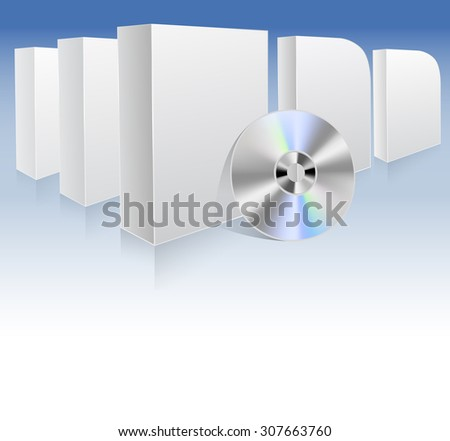background with white boxes and dvd. raster illustration - stock photo