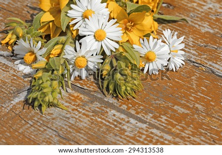 Background with wild flowers on an old table. Space for text. Art processing in terracotta color. - stock photo