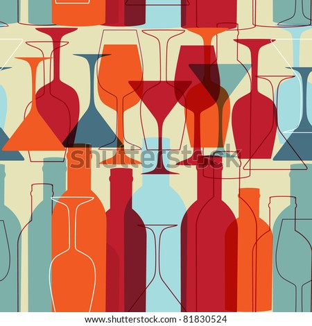 Background with wine bottles and glasses. Raster version - stock photo