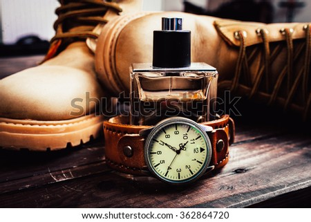 background,wood, vintage,watch on the table - stock photo