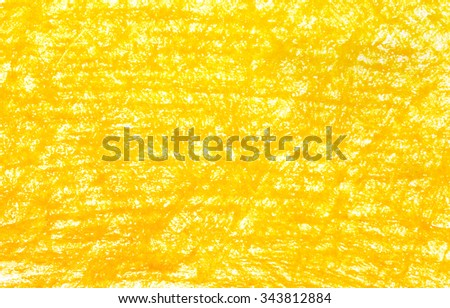 Background yellow crayon drawing texture - stock photo