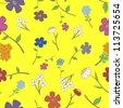 Background - yellow floral seamless with a variety of flowers - stock photo