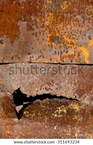 Backgrounds and textures: rusty metal wall surface, industrial abstract - stock photo