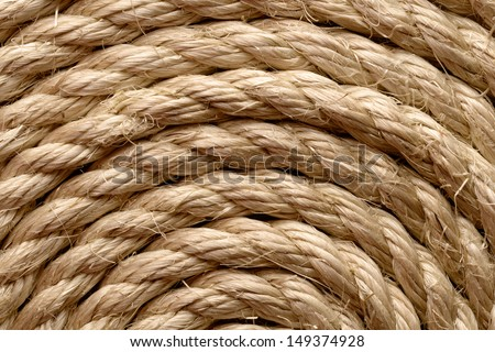 Backgrounds and textures: sisal rope arranged as background, close-up shot - stock photo