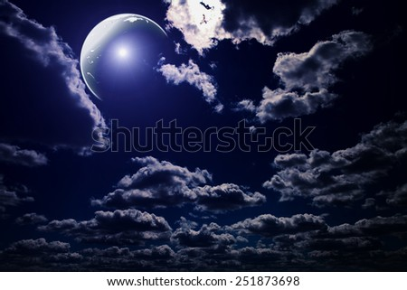backgrounds night sky with stars and moon and beautiful clouds - stock photo