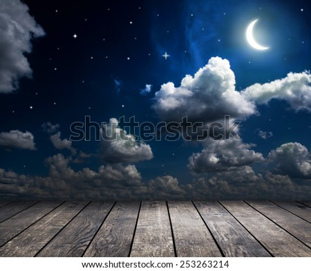 backgrounds night sky with stars and moon and clouds. wood  - stock photo