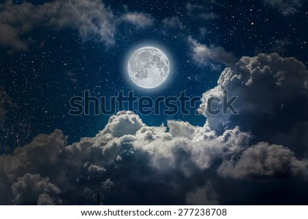backgrounds night sky with stars, moon and clouds.. Elements of this image furnished by NASA - stock photo