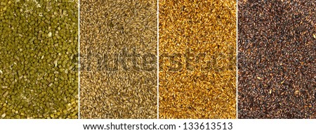 Backgrounds of malt seeds and dried hops