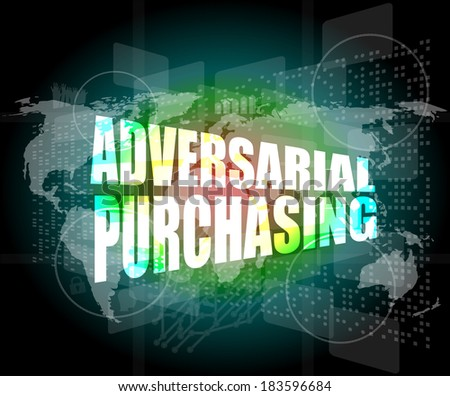 Backgrounds touch screen with adversarial purchasing words - stock photo