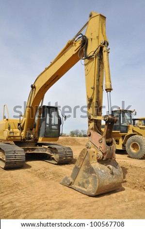backhoe construction vehicle - stock photo