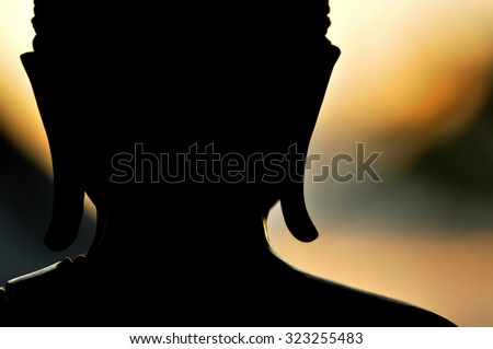 Backlight Silhouette of Buddha.