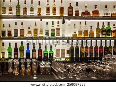 Backlit Bottles Glassware Behind Bar Known Stock Photo (Download Now ...
