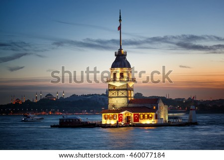 Backlit Maiden's Tower at the twilight Istanbul