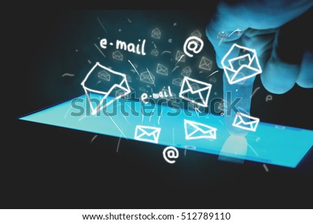 Backlit touch screen tablet and drawn envelopes as e-mail.