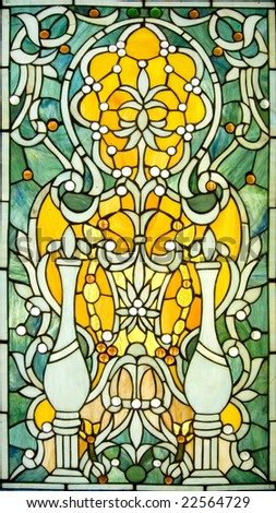 Backlit victorian-style stained glass Window. - stock photo