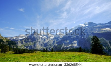 backpack and mountain panorama. Swiss Alps