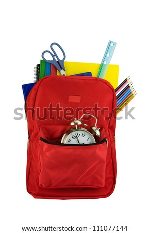 Backpack and School Stationery Isolated on White - stock photo