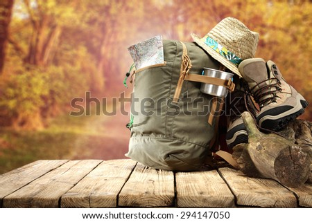 backpack and shoes  - stock photo