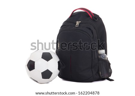 backpack and soccer ball isolated on white background - stock photo