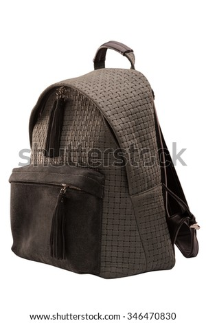 backpack, bag, leather backpack, leather bag, gray backpack with pocket brown, isolated on a white background with a clipping mask