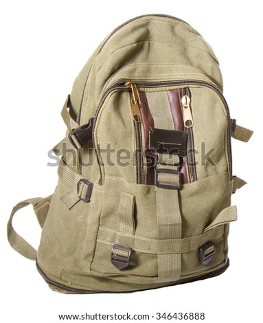 Backpack from fabric of color khaki. The isolated object on a white background