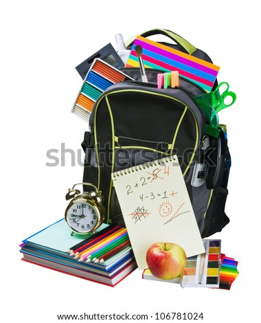 Backpack full of school supplies - stock photo