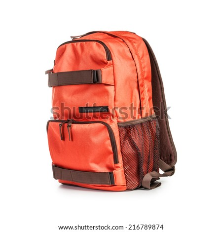 Backpack isolated on white background. Tourism and travel themes. Clipping path - stock photo