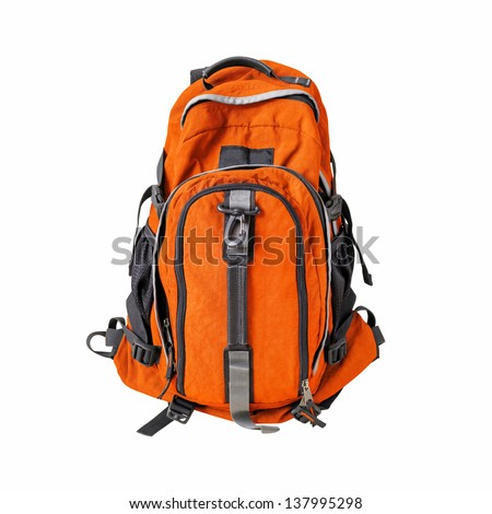 Backpack isolated w/ path - stock photo